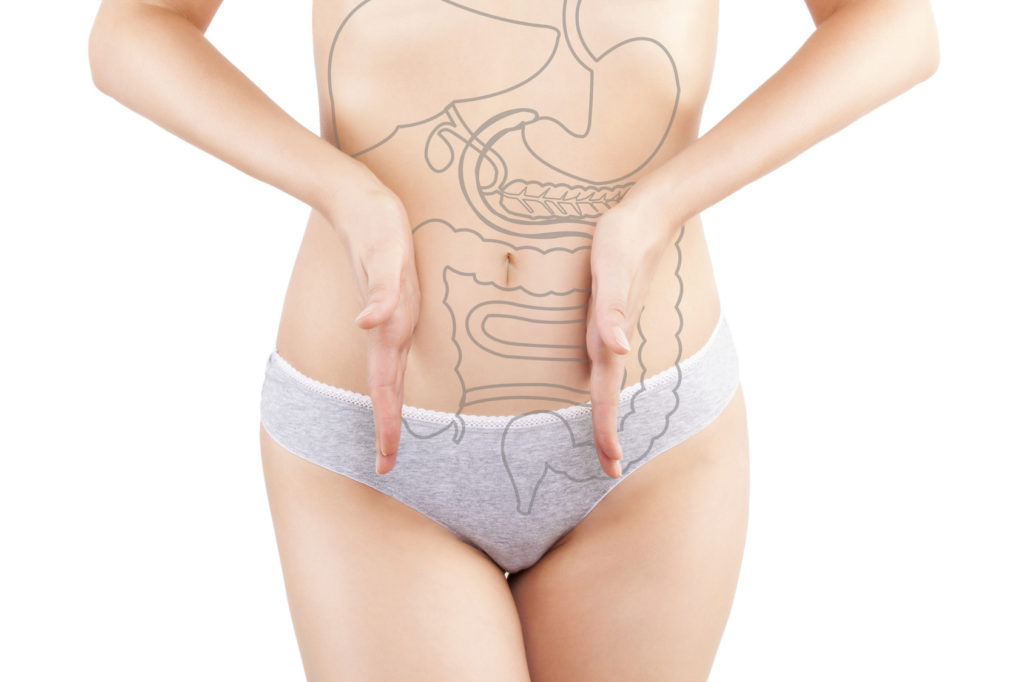 Beautiful woman photography isolated on white background with inner organs illustration on her body. Digestive problems.